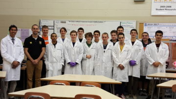 image Dr. James Perkins poses with Mike Boyer and his Nanotechnology class.