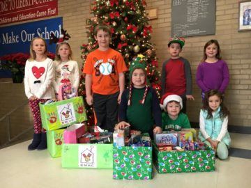 Students at Liberty-Curtin Elementary collected items for Ronald McDonald House.