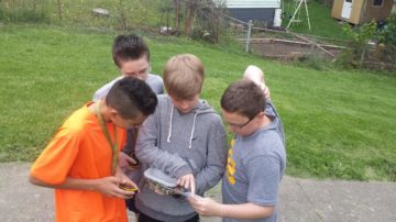 Canonsburg Middle School students discover a cache.