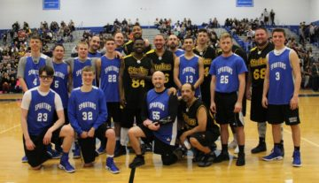image - steeler ballers with high school basketball players