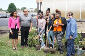 """image Roosevelt students volunteering in the """"Native Plants for Watershed Protection and Birds"""" program."""