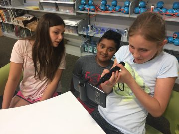 Fifth graders at Colonial Elementary School explored planets through augmented reality in the new Innovation Lab in the school library media center.