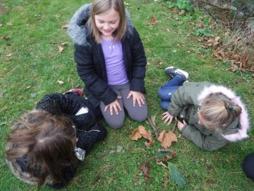 Students create leaf art as they explore seasonal changes with Shaver's Creek environmental educators at after school Science Club.